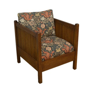 Stickley Mission Collection Oak Spindle Cube Chair For Sale