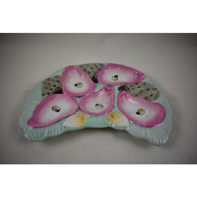 Late 19th Century Porcelain Crescent Shape Pink Wells & Pale Turquoise Hand-Painted Oyster Plate For Sale - Image 5 of 9