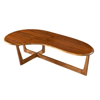 Adrian Pearsall Style Solid Oak and Walnut Boomerang Amoeba Shape Coffee Table For Sale