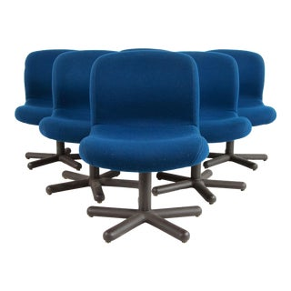 Mid Century Post Modern Blue Office or Dining Chairs - Set of 6 For Sale