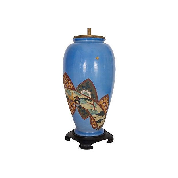 Asian Antique Chinoiserie Blue Vase Lamp For Sale - Image 3 of 6