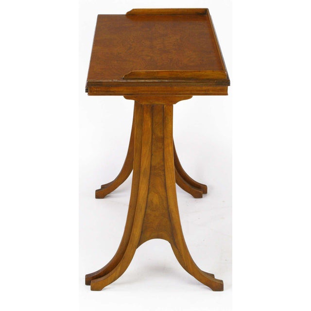 Baker Art Nouveau Style Burled Walnut Nesting Tables - Image 3 of 10