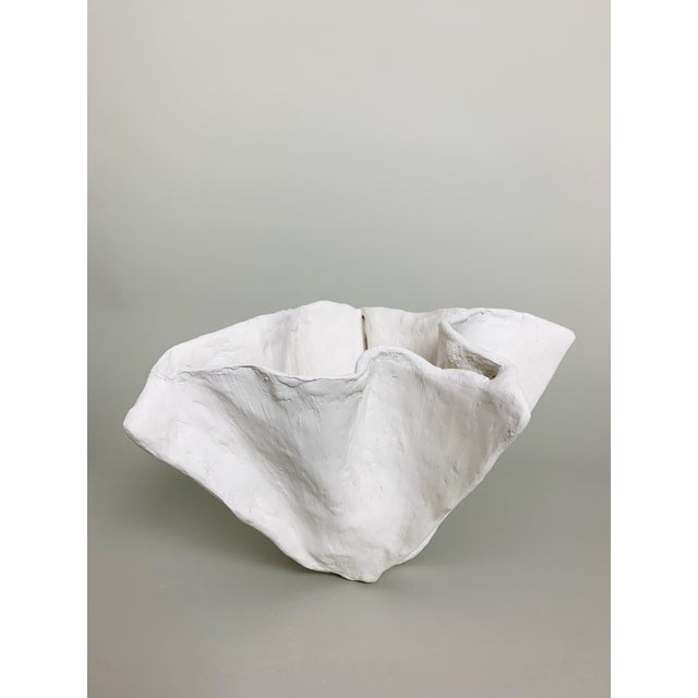 White Minimalist White Raw Plaster Pinch Bowl For Sale - Image 8 of 8
