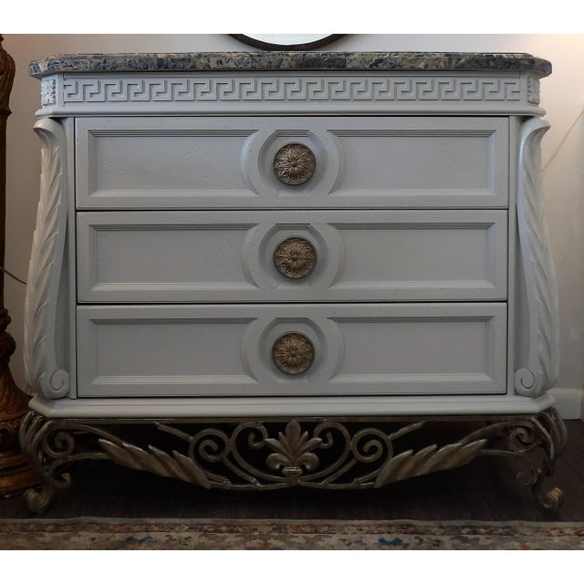 Gray Faux Marble Topped Sideboard With Ornate Iron Base & Greek Key Design For Sale - Image 8 of 8