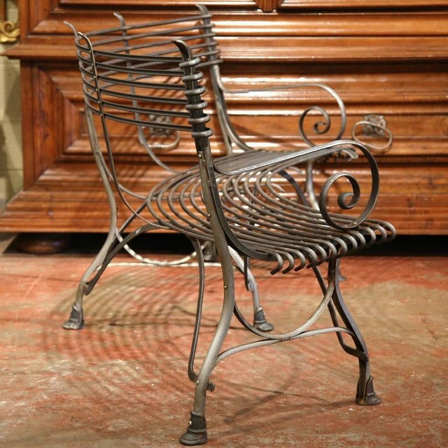 French Polished Iron Hoof Foot Curved Bench Signed Sauveur Arras For Sale - Image 9 of 10