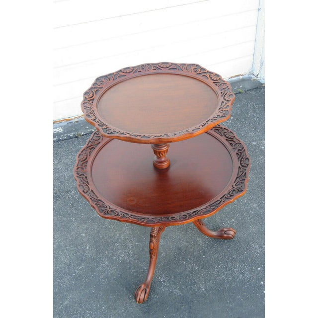 Brown Mahogany Two Tier Hand Carved Pie Crust Round Side Table For Sale - Image 8 of 11