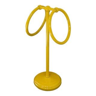 Mid-Century Modern Yellow Bathroom Hand Towel Holder Rack For Sale