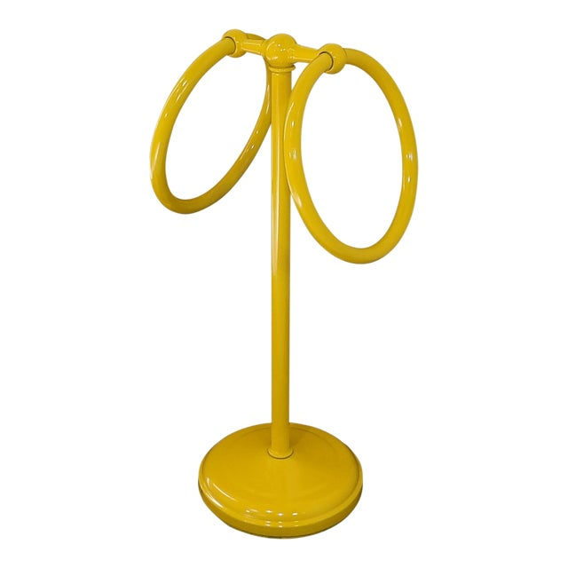 Mid-Century Modern Yellow Bathroom Hand Towel Holder Rack For Sale