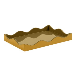 The Lacquer Company for Chairish Belle Rives Tray in Mayan Gold / Olive, Small For Sale