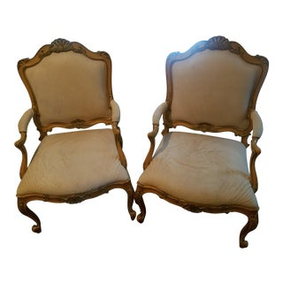 Antique Cream Victorian Style Chairs - A Pair For Sale