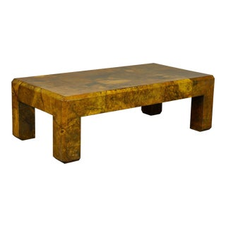 1970's Parchment Coffee Table by Karl Springer For Sale