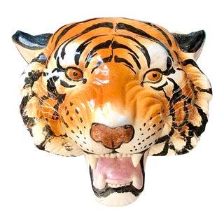 Mid-Century Italian Pottery Tiger Head Plaque For Sale