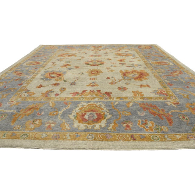Contemporary Contemporary Turkish Pastel Oushak Rug - 9′3″ × 12′3″ For Sale - Image 3 of 7