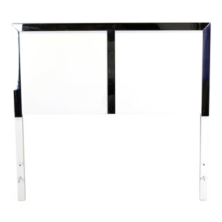 White Lacquer and Chrome Headboard For Sale