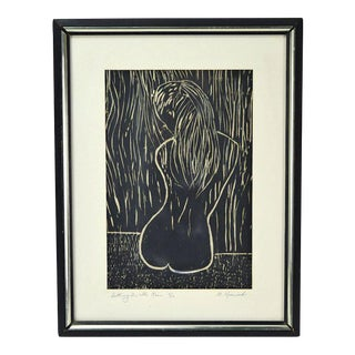 """Mid-Century """"Sitting in the Rain"""" Nude Girl Woodblock Print Signed Horwich For Sale"""