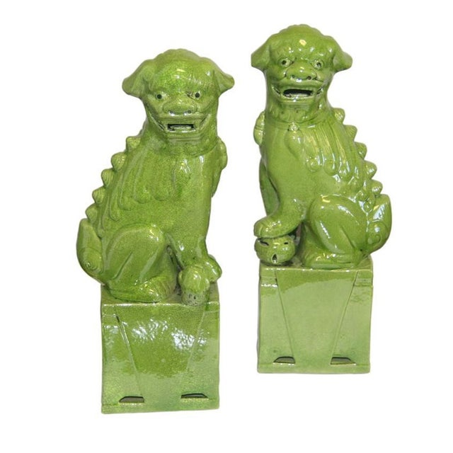 Green Foo Dogs - A Pair - Image 1 of 3