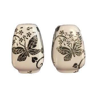 "Late 20th Century Emilia Castillo Silvered Porcelain ""Butterflies & Dragonflies"" Salt & Pepper Shakers - a Pair"