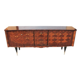 1940s Art Deco Exotic Macassar Ebony Mother-Of-Pearl Sideboard For Sale