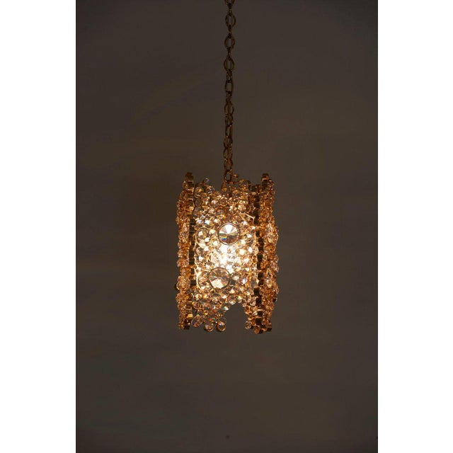 Gold One of Three Palwa Gilded Brass and Crystal Glass Encrusted Pendant Lamps For Sale - Image 8 of 11
