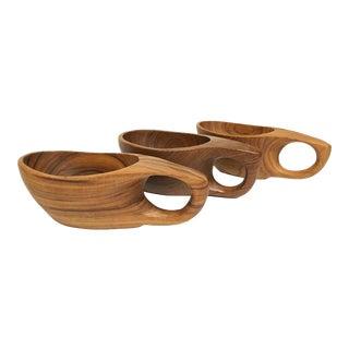 Vintage Wooden Serving Bowl With Handle - Set of 3 For Sale