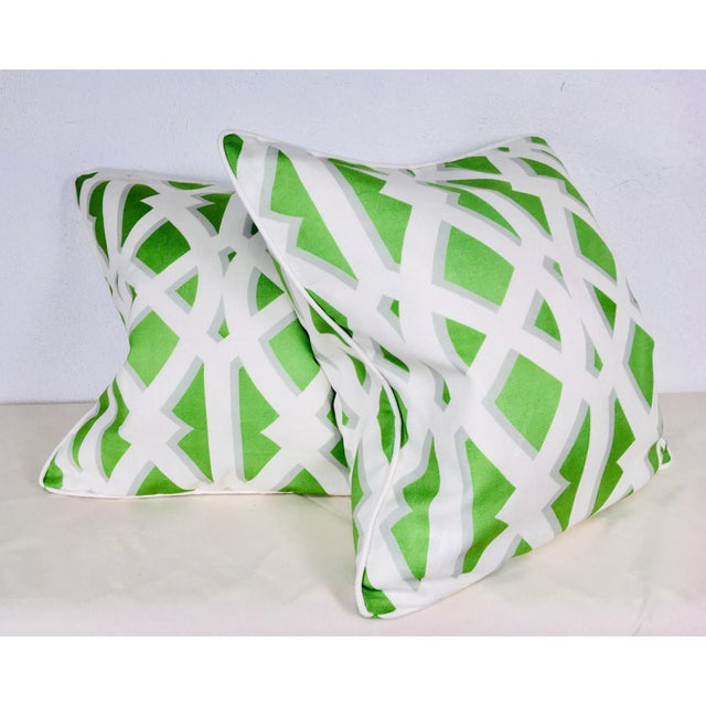 Modern Cotton Geometric Pillows – a Pair For Sale - Image 10 of 10