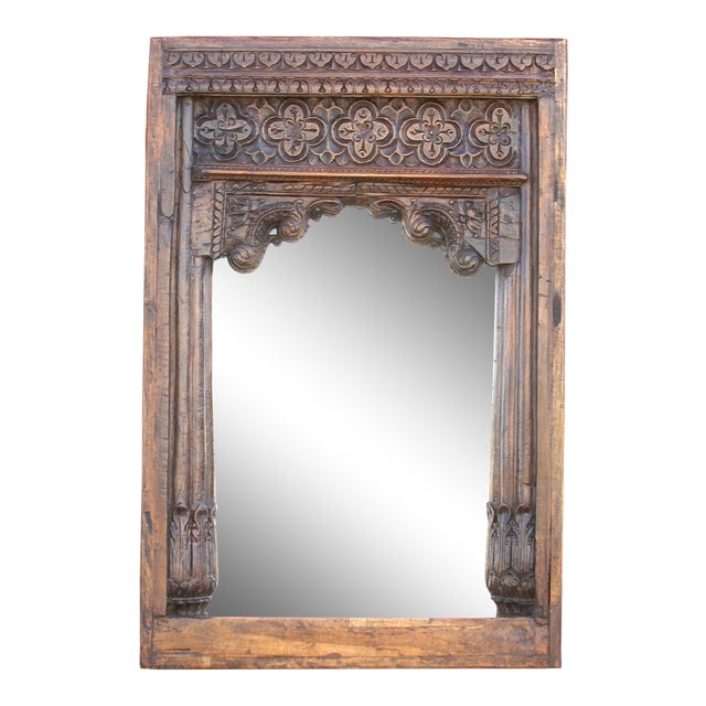 Beautiful Old Hindaun Jarokha Carved Mirror For Sale