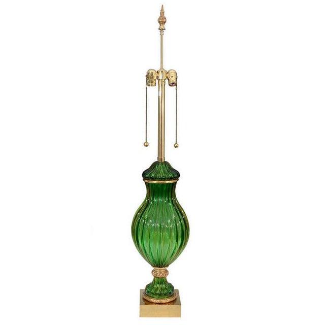 Seguso for Marbro Murano Vintage Green Glass Lamp - Image 2 of 8