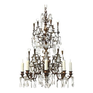 Bohemian Bronze and Crystal Chandelier