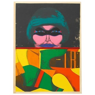 """1971 """"Masked Woman"""" Print by Richard Lindner"""