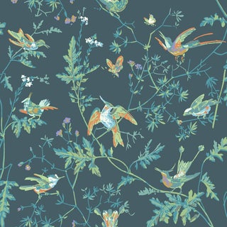 Cole & Son Hummingbirds Botanic Style Wallpaper Sample For Sale