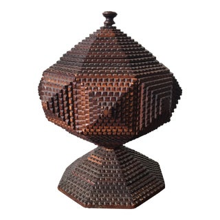 Tramp Art Carved Box For Sale