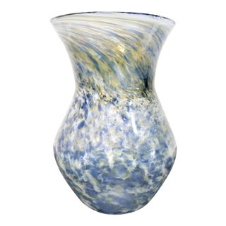 1990s Baby Blue Confetti Cloud Tornado and Pastel Art Glass Handmade Blown Swirl Vase For Sale