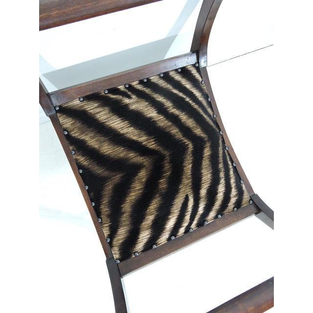 Antique Upholstered 'Animal Print' Mahogany Window Seat or Bench (Victorian) For Sale In Tampa - Image 6 of 6