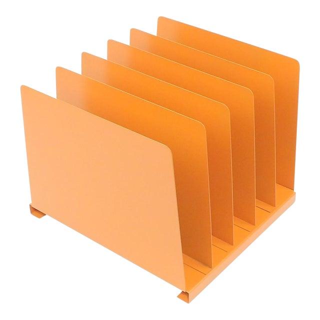 Orange Wooden Desk Organizer - Vinyl Record Rack - Image 1 of 10