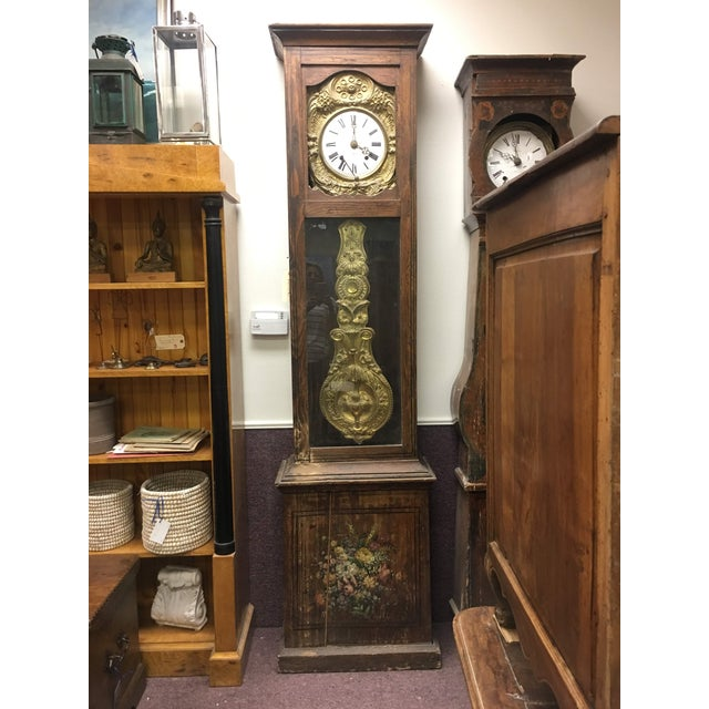 Antique French Hand Painted Brass Repoussé Grandfather Clock For Sale - Image 13 of 13