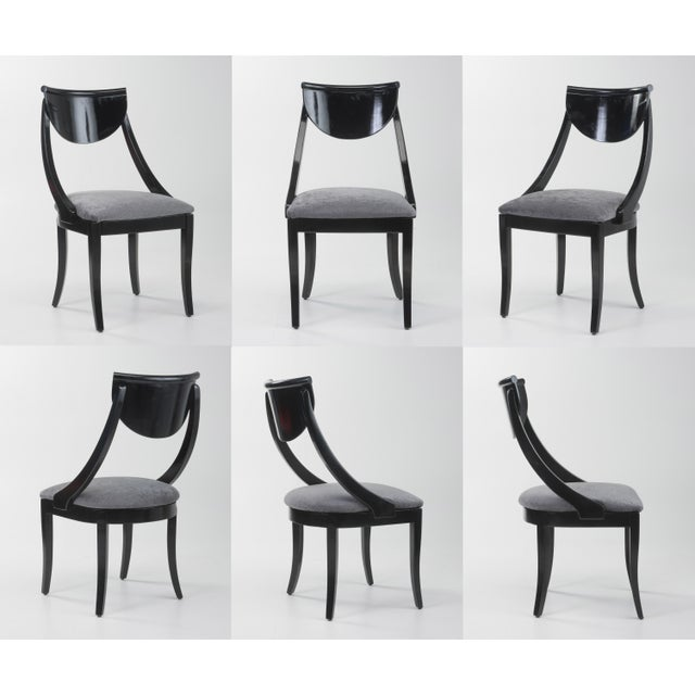 Klismos Dining Chairs Pietro Constantini Ello Black Lacquer Unmarked 1970s a Set of Six For Sale - Image 13 of 13