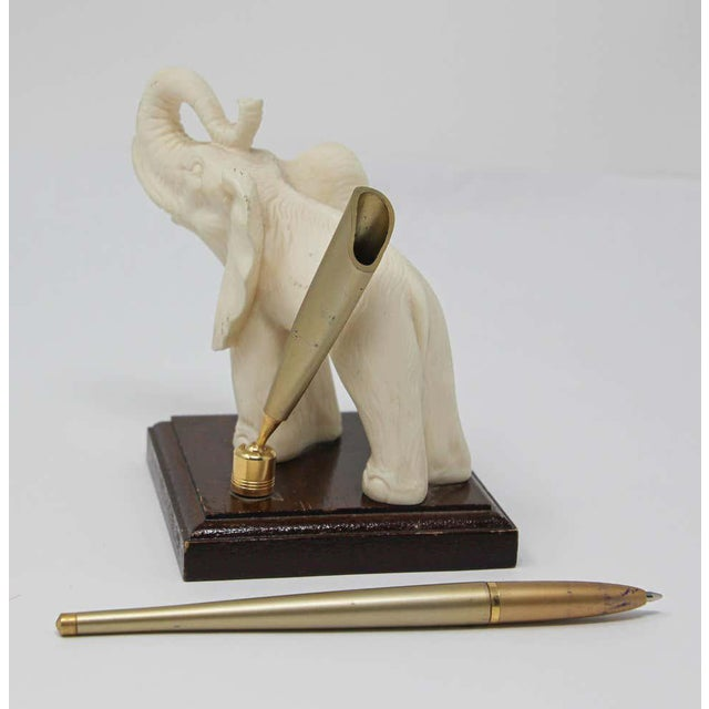 Vintage White Elephant Sculpture Pen Holder For Sale - Image 12 of 13