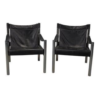1970s Vintage Black Leather & Chrome Bauhaus Style Safari Chairs- A Pair For Sale