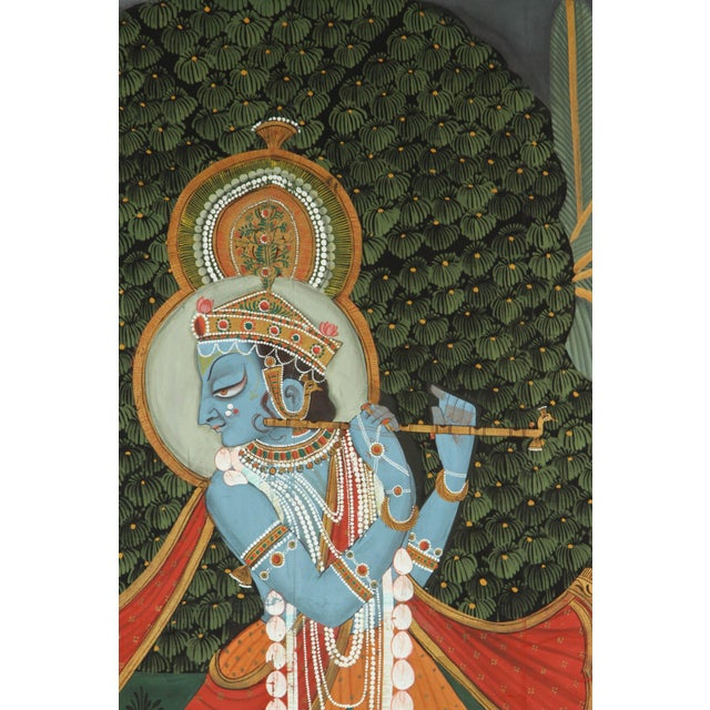 Gold Large Pichhavai Painting of Krishna With Female Gopis Dancing For Sale - Image 8 of 10