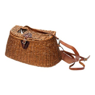 1930s Woven Fishing Creel Basket For Sale