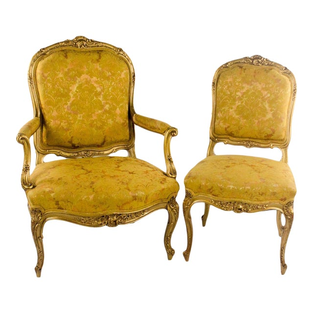 Early 20th C. French Louis XV Style Carved Giltwood Side Chairs - A Pair For Sale