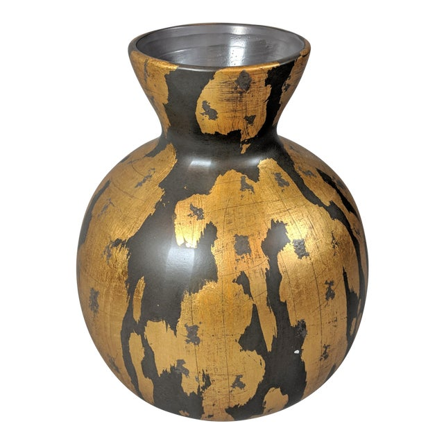 Regency Gold Leaf and Charcoal Gray Vase - Large For Sale
