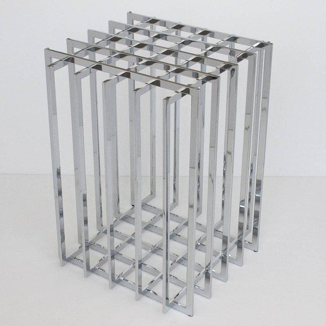 Pierre Cardin Pierre Cardin Chrome Cage Form Pedestal Dining Table For Sale - Image 4 of 11