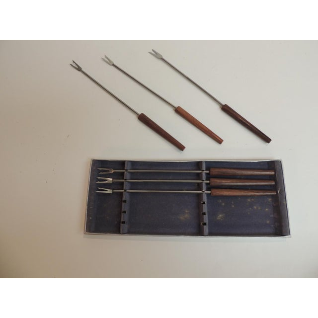 Boho Chic Vintage Fondue Serving Forks With Wooden Handles - Set of 6 For Sale - Image 3 of 3