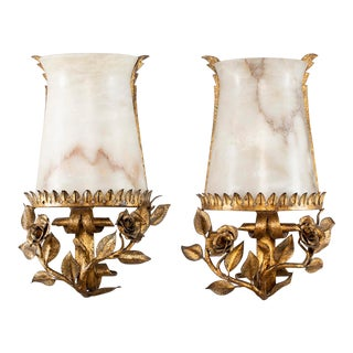 Italian Alabaster Wall Sconces With Gilt Metal Bases - a Pair For Sale