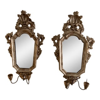 Carved and Silver Gilt Florentine Mirror Candle Holders - a Pair For Sale