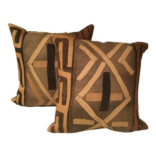 1950s Vintage African Kuba Cloth Pillows A Pair For Sale