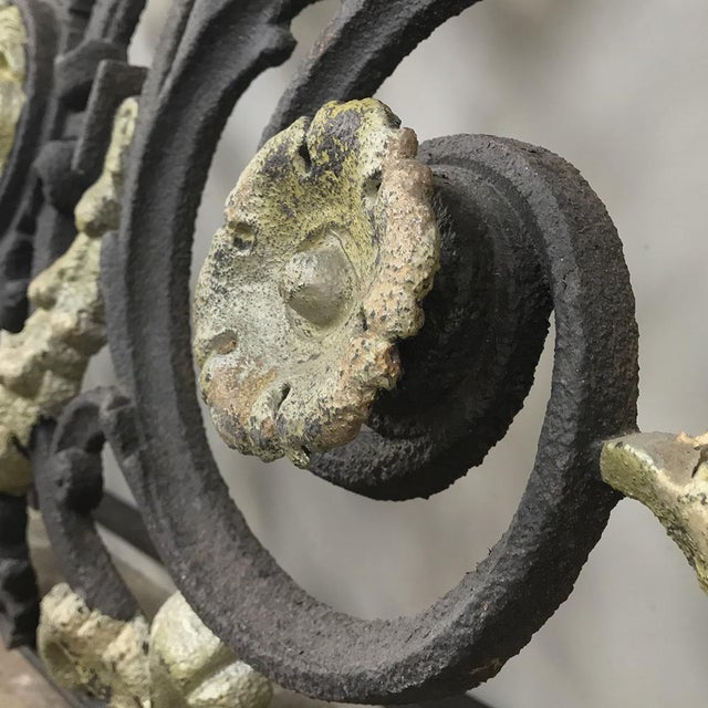 Mid 19th Century Napoleon III Period Cast Iron Marble Top Console For Sale - Image 5 of 12