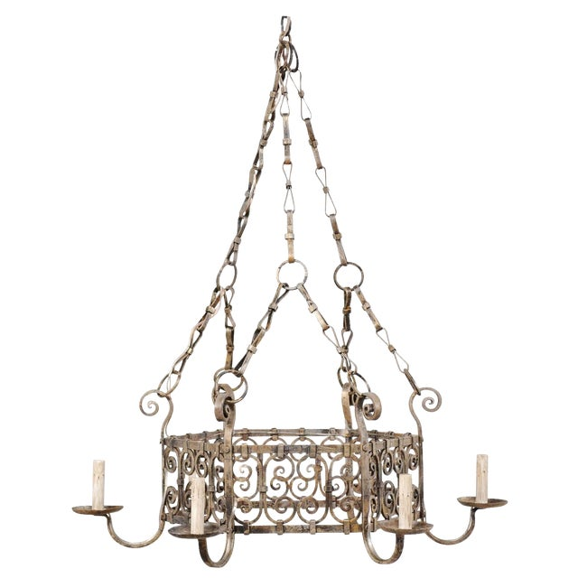 French Midcentury Six-Light Iron Chandelier With Lovely Scrolling Pattern For Sale