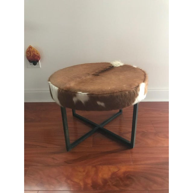 Animal Skin Circular Upholstered Cowhide Bench For Sale - Image 7 of 7